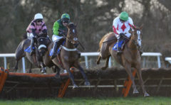 RACE WINNER Down Ace (r) ridden by Dougie Costello clears the last - RACE 4 - 14.20 - Season«s Greetings From totepool Mares« Novices« Hurdle - PHOTO mandatory by-line: Dan Mullan/Pinnacle - Photo Agency UK Tel: +44(0)1363 881025 - Mobile:0797 1270 681 - VAT Reg No: 768 6958 48 - 30/12/2013 - EQUESTRIAN - HORSE RACING - Taunton Racecourse, Taunton, Somerset.