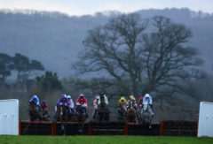 RACE WINNER Sarenice ridden by Hadden Frost (r) takes a flight - RACE 7 - 15.55 - Collect totepool Winnings At Betfred Shops Handicap Hurdle - PHOTO mandatory by-line: Dan Mullan/Pinnacle - Photo Agency UK Tel: +44(0)1363 881025 - Mobile:0797 1270 681 - VAT Reg No: 768 6958 48 - 30/12/2013 - EQUESTRIAN - HORSE RACING - Taunton Racecourse, Taunton, Somerset.