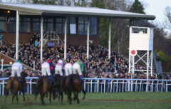 Runners make their way past the grandstand - RACE 4 - 14.20 - Season«s Greetings From totepool Mares« Novices« Hurdle - PHOTO mandatory by-line: Dan Mullan/Pinnacle - Photo Agency UK Tel: +44(0)1363 881025 - Mobile:0797 1270 681 - VAT Reg No: 768 6958 48 - 30/12/2013 - EQUESTRIAN - HORSE RACING - Taunton Racecourse, Taunton, Somerset.