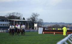 Runners make their way around the final flight due to bad ground - RACE 5 - 14.55 - Steve Logan Memorial (County Contractors) Handicap Chase - PHOTO mandatory by-line: Dan Mullan/Pinnacle - Photo Agency UK Tel: +44(0)1363 881025 - Mobile:0797 1270 681 - VAT Reg No: 768 6958 48 - 30/12/2013 - EQUESTRIAN - HORSE RACING - Taunton Racecourse, Taunton, Somerset.